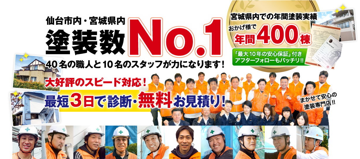 仙台市内・宮城県内 No.1の在籍数!「そろそろ塗り替えが必要かな?」と思ったら40名の職人と10名のスタッフが力になります。。